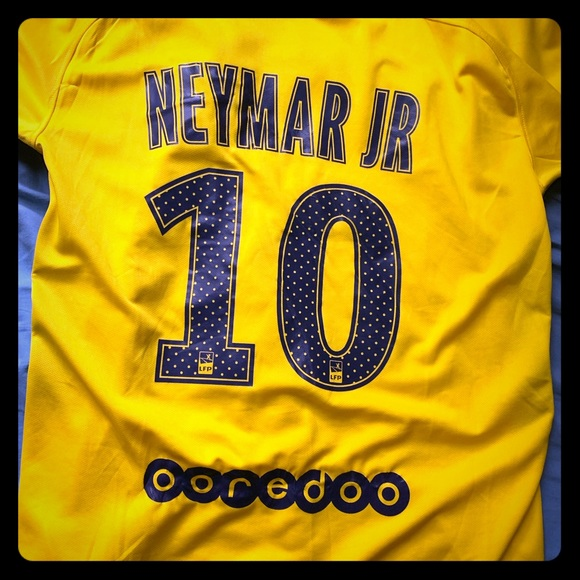 super popular 21245 e7068 2017-18 Paris (PSG) Yellow Away Kit. Neymar Jr